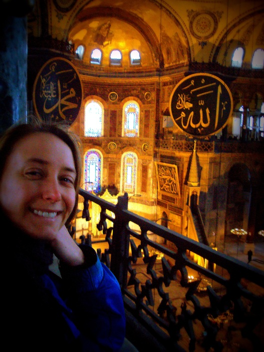A (relatively unflattering) self-portrait at the incredible Hagia Sophia in Istanbul.