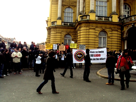 Protesters from LADO gathering in front of the Croatian National Theatre in Zagreb.