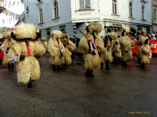 One of the hundreds of photos I took during kurentovanje. These are the title figures, the kurents.