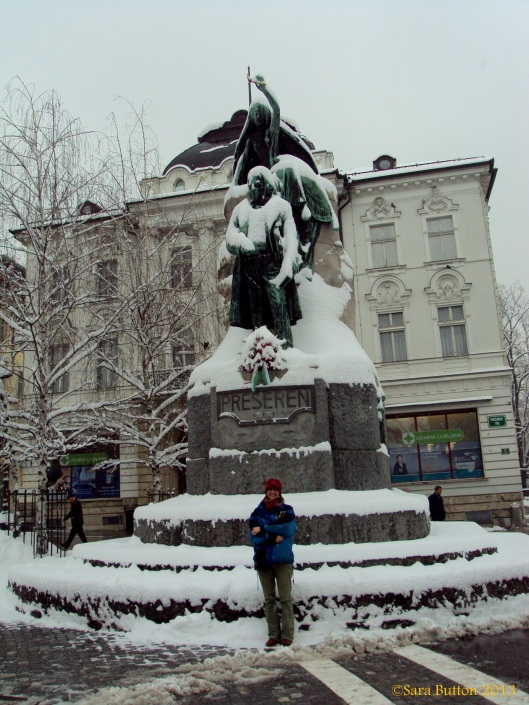 This was the Slovenian poet who penned their national anthem. This square is where everyone meets up!