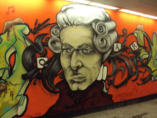 Rock me, Amadeus! Street art in Salzburg.
