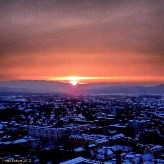 This photo was taken with my phone after a snowy day in Ljubljana. Not too shabby, Slovenia. Not too shabby.
