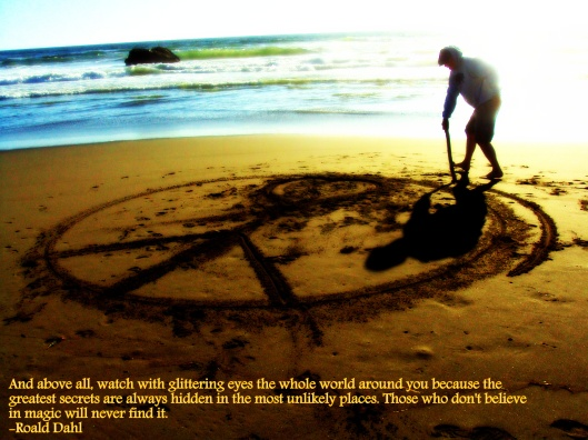 Stick painting on the beach.