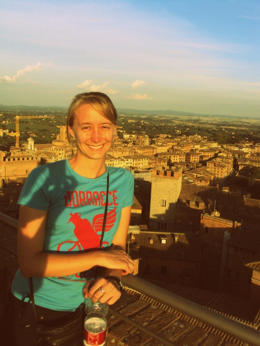 Overlooking Siena and promoting poetry!
