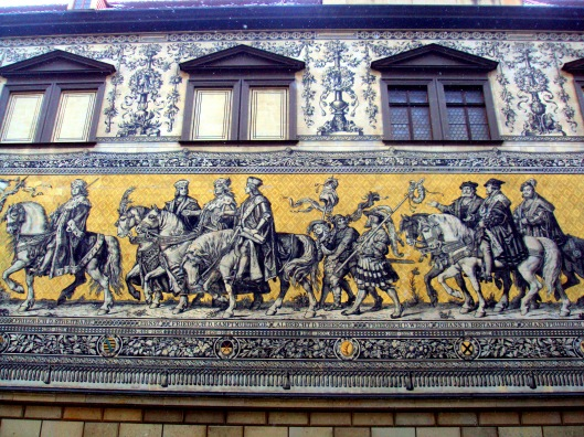 Porcelain tiles depicting a procession of princes, or Fürstenzug, is 335 ft. long and completed in 1876.